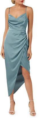 Ever New Asymmetric Cowl-Neck Satin Dress