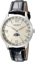 Akribos XXIV Men's AK637SSW Retro Swiss Dial Stainless Steel Black Leather Strap Watch