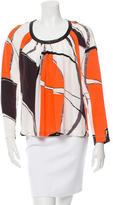 Yigal Azrouel Leather-Trimmed Silk Top