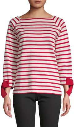 Tu Es Mon TrÉSor Bow-Cuff Striped T-Shirt