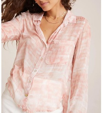 Bella Dahl Rounded Hem Button Down Coral Shirt - L
