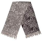 Neiman Marcus Wool Fur-Trimmed Shawl