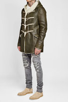 Rick Owens Hooded Leather Jacket with Shearling Lining