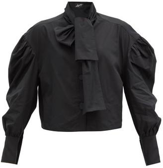 Elzinga - Balloon-sleeve Cotton-poplin Shirt - Black