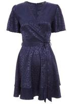 Dorothy Perkins Womens Quiz Navy Satin Wrap Dress