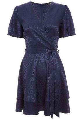 Dorothy Perkins Womens *Quiz Navy Satin Wrap Dress