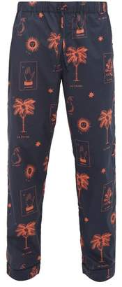 Desmond & Dempsey La Loteria Printed Cotton Pyjama Trousers - Mens - Red Navy