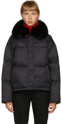 Yves Salomon Black Down Fox Collar Jacket