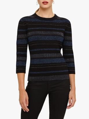 Phase Eight Samina Stripe Knit Jumper, Ink