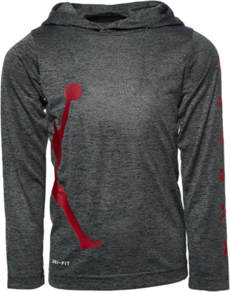 Jordan Vert Hooded Long Sleeve Top - Black / Cool Grey Gym Red