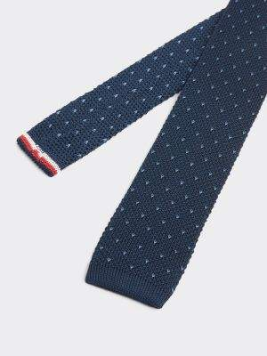 Tommy Hilfiger Dot Print Silk Chunky Knitted Tie