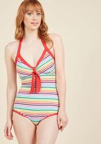 High Dive by ModCloth Deep End Diva One-Piece Swimsuit in Rainbow in XS
