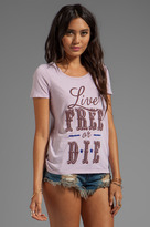 """Chaser Live Free or Die"""" Chaster Cotton Clouchy Short Sleeve Tee"""