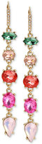 Betsey Johnson Gold-Tone Multi-Stone Linear Drop Earrings