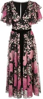 Marchesa Embroidered Floral Ruffled Dress