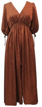 Taylor Dotted Satin Smocked-Waist Maxi Dress