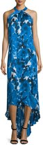 Theia Sleeveless Floral-Print High-Low Gown