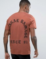 Criminal Damage Old English Font Back Print T-Shirt