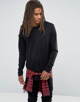 Asos Super Longline Long Sleeve T-Shirt With Woven Check Underlayer