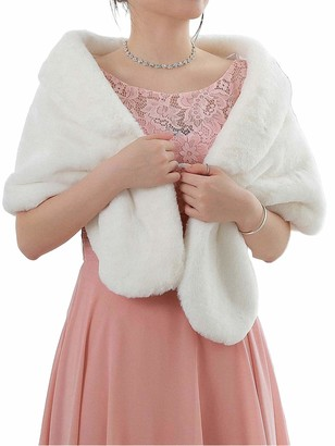 Eon Genglass Sleeveless Faux Fur Shawl Wedding Fur Wraps and Shawls Bridal Fur Stole for Brides and Bridesmaids (White)