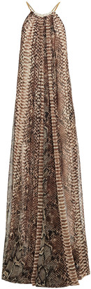 Elie Saab Chain-trimmed Gathered Snake-print Georgette Gown