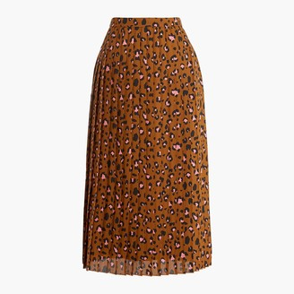 J.Crew Printed long pleated midi skirt