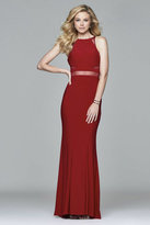 Faviana 7921 Long halter dress with illusion insets