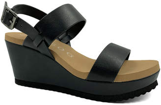Bamboo Women's Sandals BLACK - Black Double-Band Beehive Wedge Sandal - Women