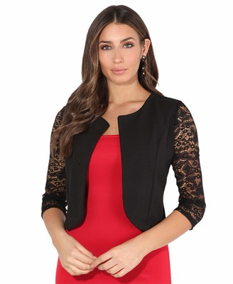 KRISP 9330-BLK-ML: Lace Sleeve Cropped Evening Shrug M/L