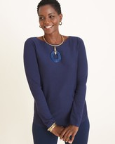 Chico's Chicos Bateau-Neck Shirttail-Hem Pullover Sweater