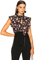 Francesco Scognamiglio Printed Sleeveless Blouse in Black,Floral.