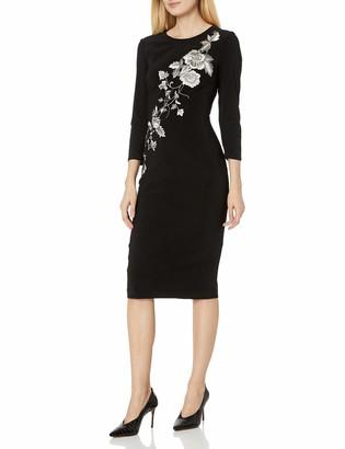 JS Collections Women's 3/4 Sleeve Embroidered Midi Dress
