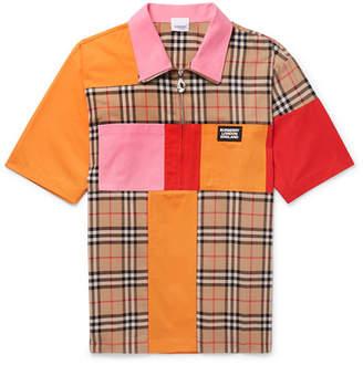 Burberry Patchwork Checked Cotton Half-Zip Shirt