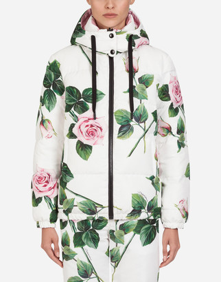 Dolce & Gabbana Tropical Rose Print Nylon Ski Jacket