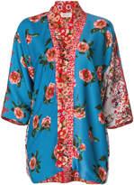 Black Coral floral print kimono jacket