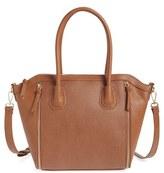 Sole Society 'Kaylen' Faux Leather Crossbody Satchel - Brown