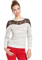 Bar III Top, Long-Sleeve High-Neck Lace Sweatshirt
