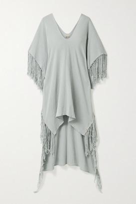 CARAVANA Butub Asymmetric Fringed Cotton-gauze Dress - Light gray