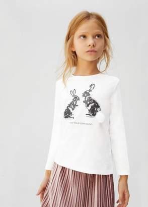 MANGO Reversible sequins pom pom t-shirt off white - 5 - Kids