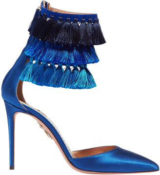 Aquazzura + Claudia Schiffer Loulou's Tasseled Satin Pumps