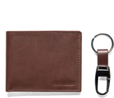 Steve Madden Brown Leather Wallet & Key Chain