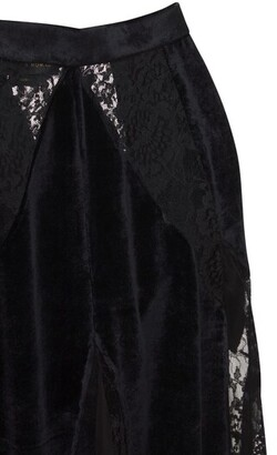 ZUHAIR MURAD Fluid Velvet Lace Midi Skirt