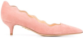 Charlotte Olympia Scalloped 45mm Suede Pumps