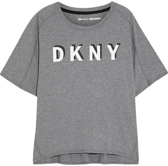 DKNY Printed Melange Stretch Cotton And Modal-blend Jersey T-shirt