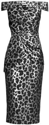 Metallic Off-The-Shoulder Cocktail Dress