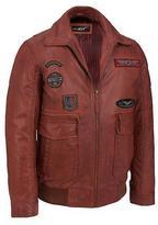 Black Rivet Mens Big & Tall Patch Leather Bomber Jacket