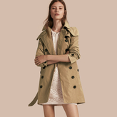 Burberry Taffeta Trench Coat with Detachable Hood , Size: 08, Beige