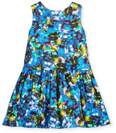 Milly Minis Sleeveless Abstract Smocked Dress, Size 4-7