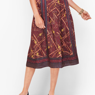 Talbots Status Print Pleated Skirt