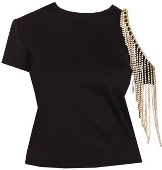 Area Black Crystal Fringe Cut-out T-shirt